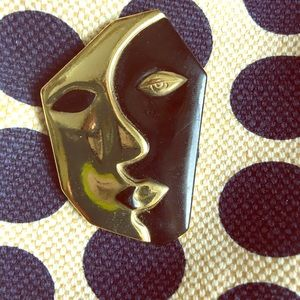Vintage abstract face brooch